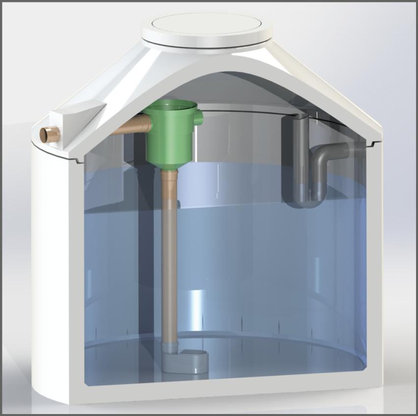 Regenwasserzisterne mit Gartenfilter und Siphon - Regenwasser nutzen