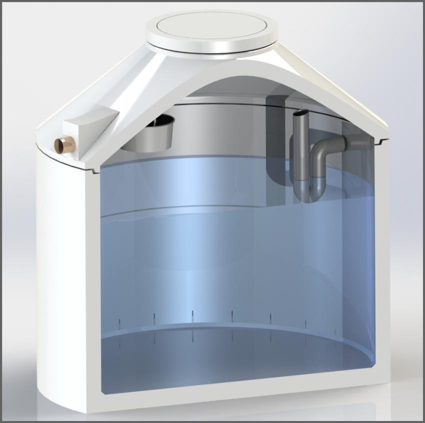 Regenwasserzisterne mit Flachfilter und Siphon - Regenwasser nutzen